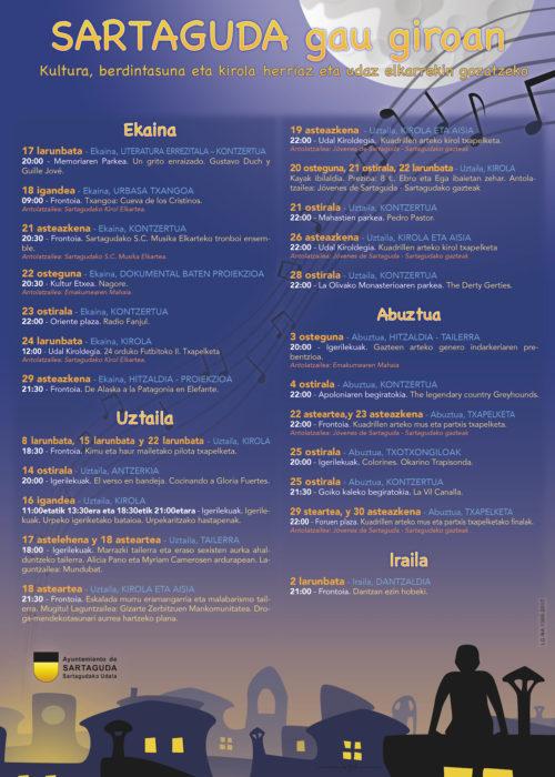 Cartel Sartaguda a la fresca 2017 euskera