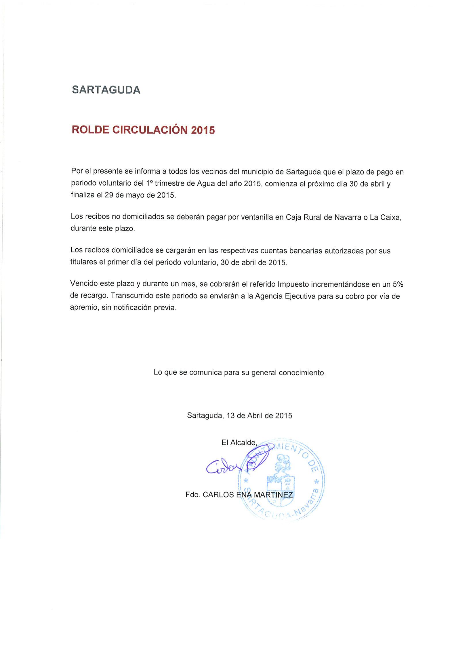 ROLDE CIRCULACION 2015